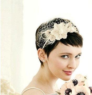 各种清新短发新娘造型图片